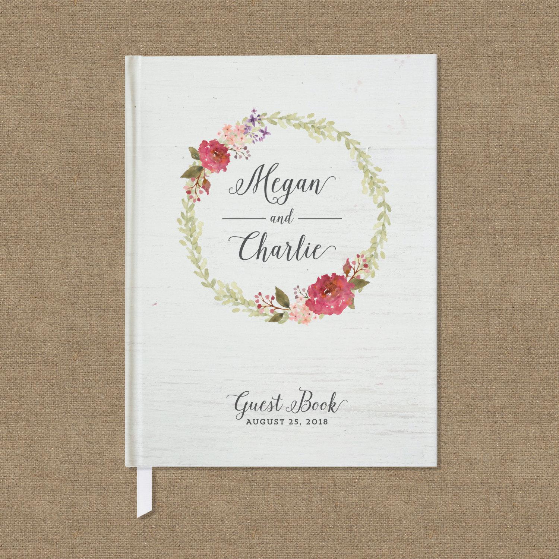 rustic guest book floral wreath