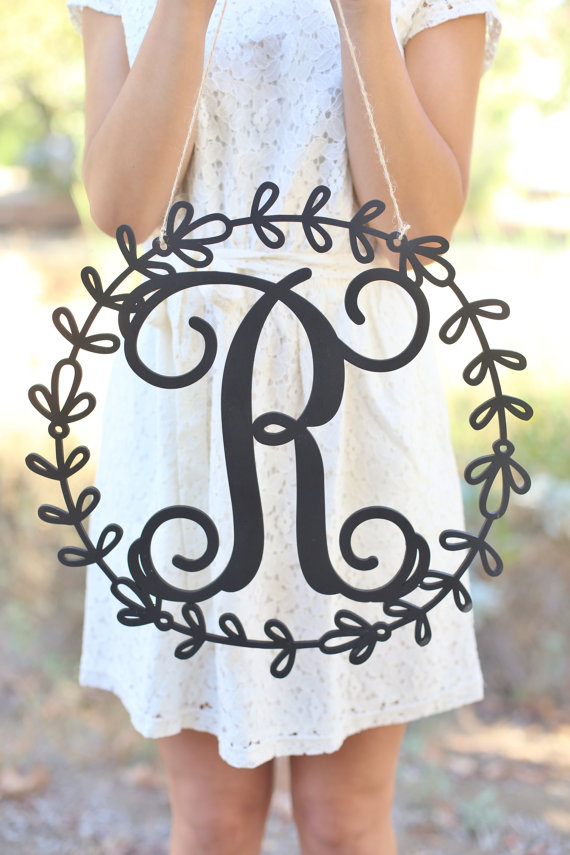 rustic monogram metal sign by braggingbag