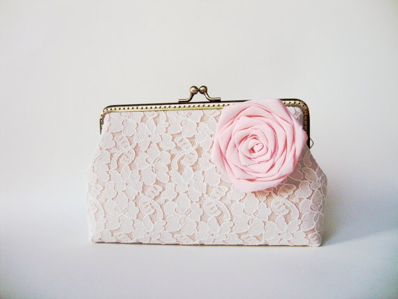 shabby chic white lace clutch purse