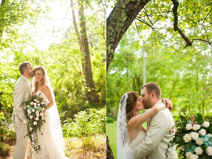 spring wedding bride groom flowers | Kelly and Paul's Rustic Spring Wedding in Georgia (Georgia Weddings) | http://www.emmalinebride.com/real-weddings/a-magnificent-rustic-spring-wedding-in-georgia-weddings/ | photo: You Are Raven