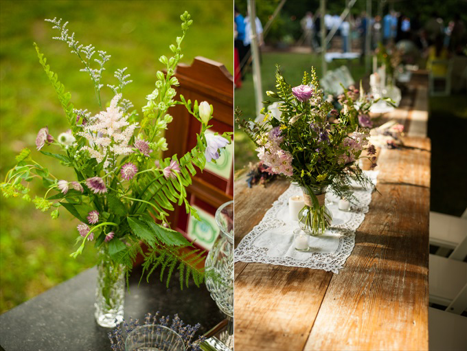spring wedding outdoor reception wood table | Kelly and Paul's Rustic Spring Wedding in Georgia (Georgia Weddings) | http://www.emmalinebride.com/real-weddings/a-magnificent-rustic-spring-wedding-in-georgia-weddings/ | photo: You Are Raven