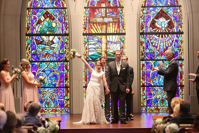 stain glass church wedding | Sarah + JJ's Pretty Wedding at 173 Carlyle House | https://www.emmalinebride.com/real-weddings/pretty-wedding-173-carlyle-house/ | photo: Melissa Prosser Photography - Atlanta Georgia Wedding Photographer
