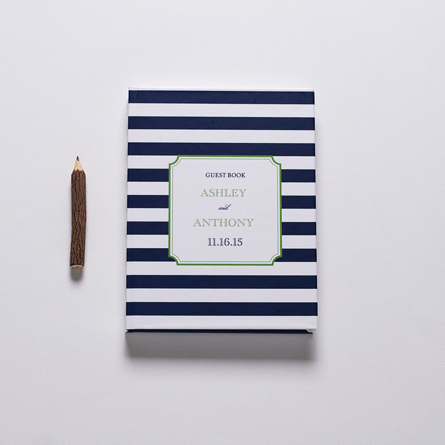 striped preppy nautical wedding guest book
