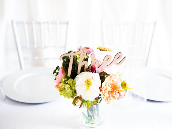 table number spelled out - part of centerpiece