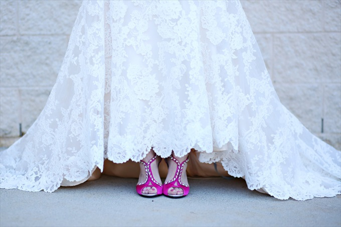 wedding dress pink shoes | Sarah + JJ's Pretty Wedding at 173 Carlyle House | https://www.emmalinebride.com/real-weddings/pretty-wedding-173-carlyle-house/ | photo: Melissa Prosser Photography - Atlanta Georgia Wedding Photographer