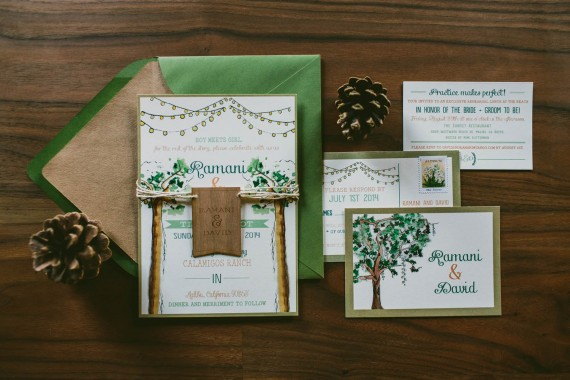 Custom Watercolor Wedding Invitation tree | rustic wedding invitations etsy finds | by Wide Eyes Paper Co. | https://emmalinebride.com/rustic/invitations-rustic-weddings/