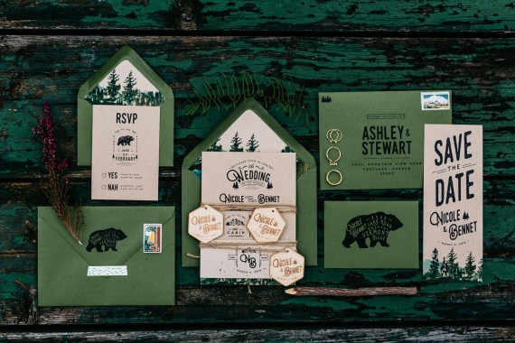 Woodland and Watercolor Bear Wedding Invitation | rustic wedding invitations etsy finds | by Wide Eyes Paper Co. | https://emmalinebride.com/rustic/invitations-rustic-weddings/