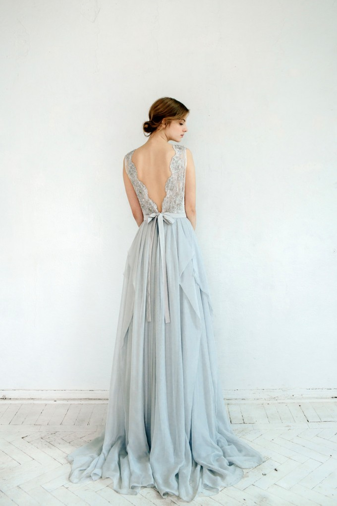 back of silver grey wedding dress