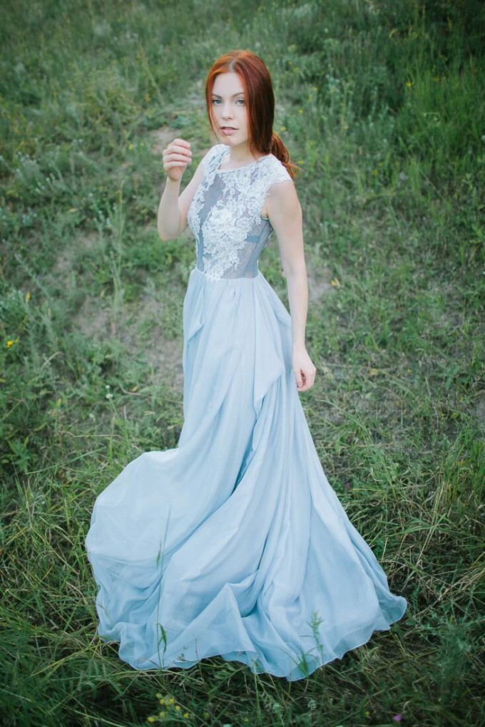blue gray wedding dress