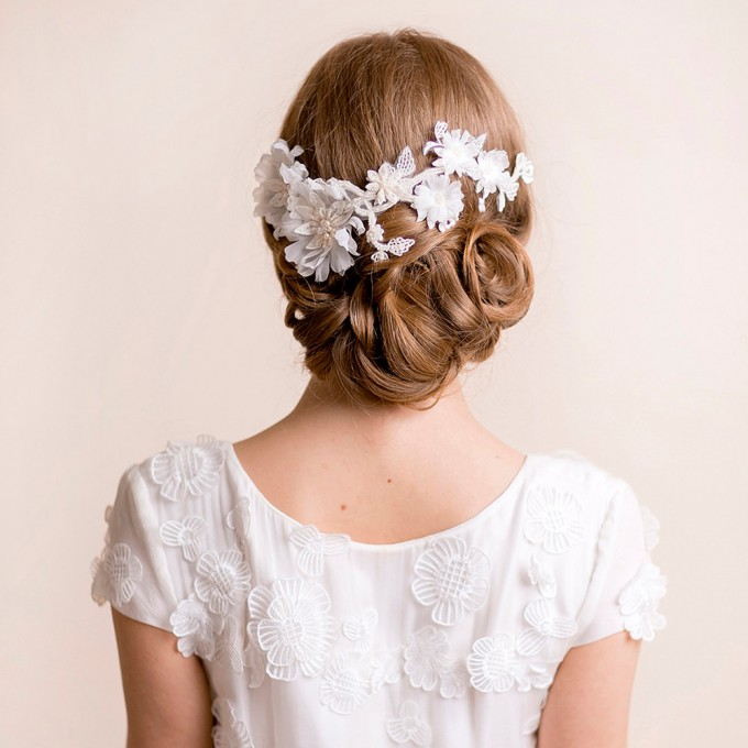 bridal headpiece on lace floral | hairstyles accessories weddings | https://emmalinebride.com/bride/hairstyles-accessories-weddings/ | via florentes: http://etsy.me/22yo1LX