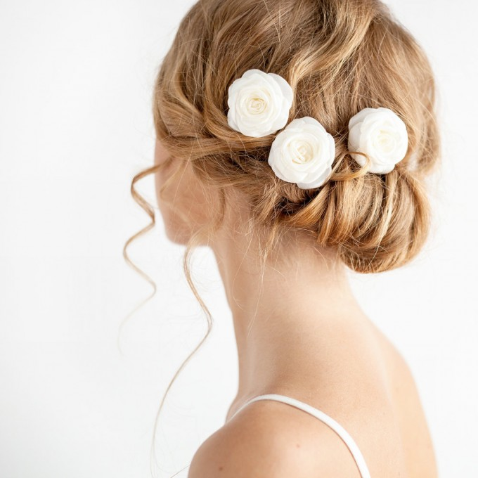 bridal rose hair pins | hairstyles accessories weddings | http://emmalinebride.com/bride/hairstyles-accessories-weddings/ | via florentes: http://etsy.me/22yo1LX