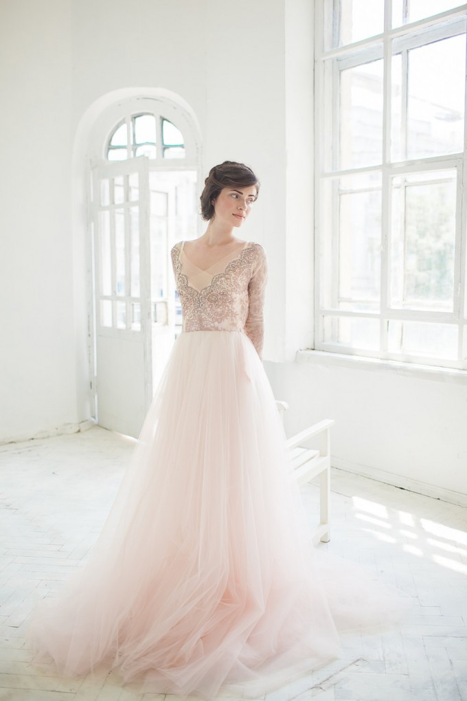 bronze wedding dress tulle
