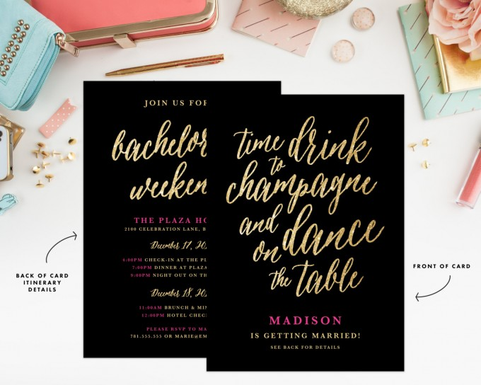 champagne bachelorette party invitation by fineanddandypaperie | champagne bachelorette party ideas https://emmalinebride.com/how-to/plan-champagne-bachelorette-party