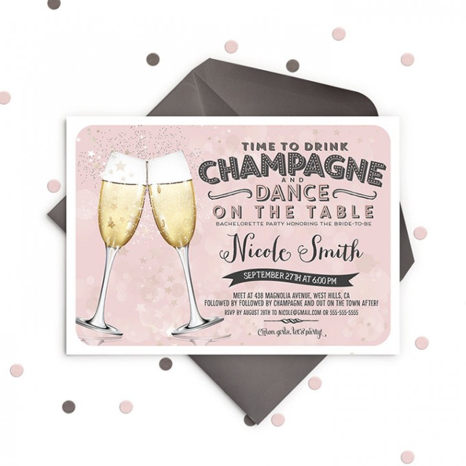 champagne bachelorette party invitations by ohsoparty | champagne bachelorette party ideas https://emmalinebride.com/how-to/plan-champagne-bachelorette-party