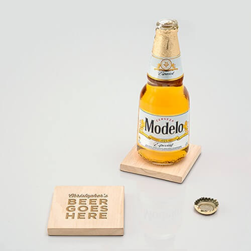 coaster with built in bottle opener favor