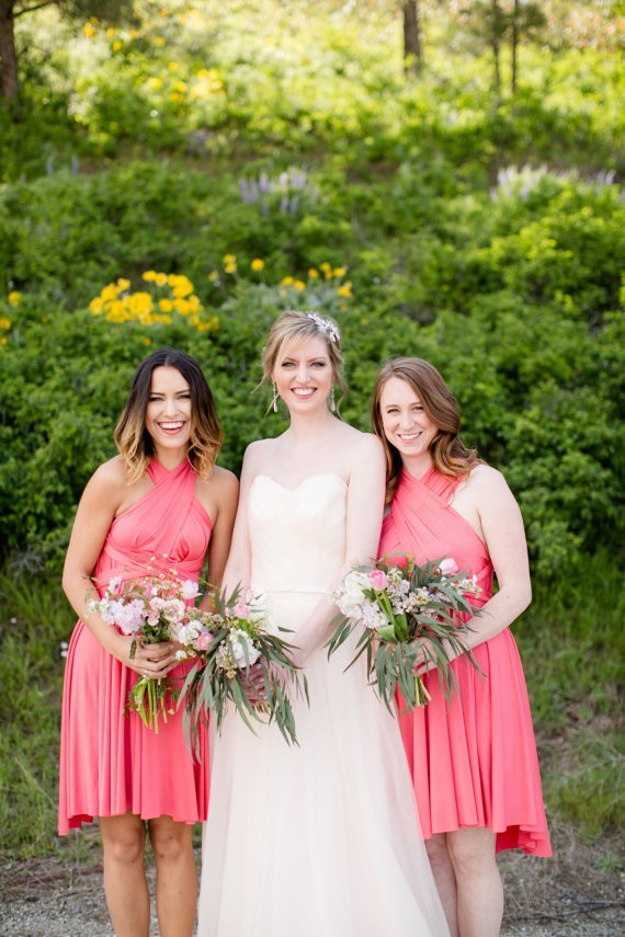 coral bridesmaid convertible dress
