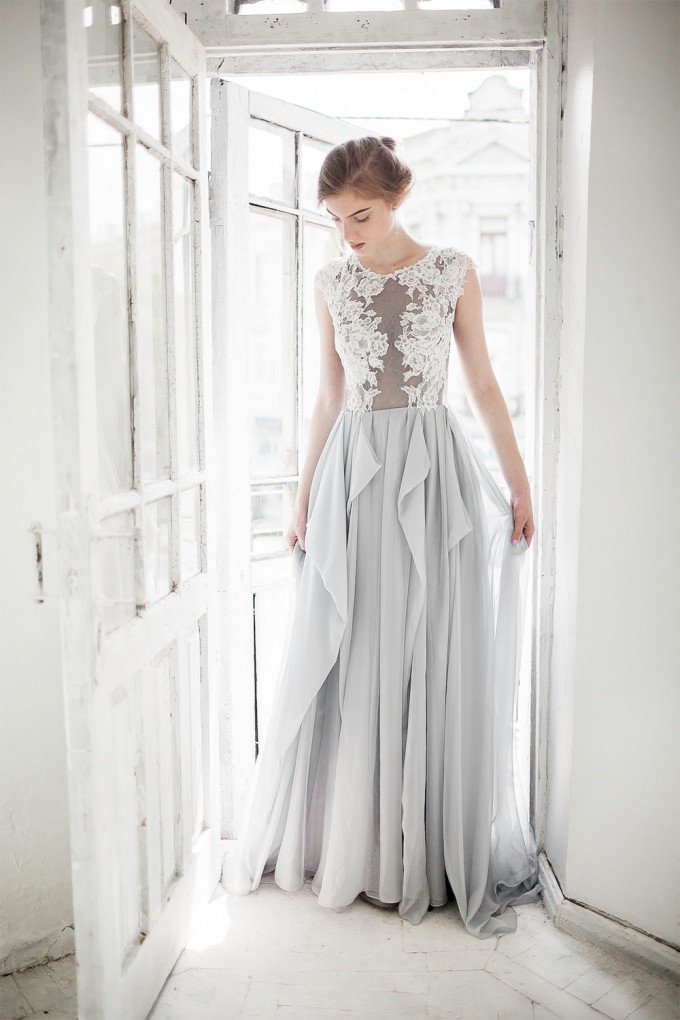 dreamy grey wedding dress