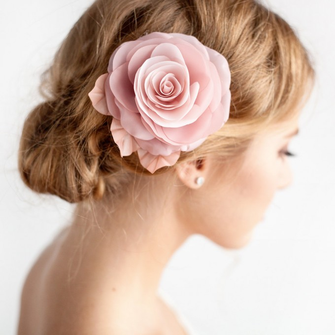 dusty rose hair flower | hairstyles accessories weddings | https://emmalinebride.com/bride/hairstyles-accessories-weddings/ | via florentes: http://etsy.me/22yo1LX