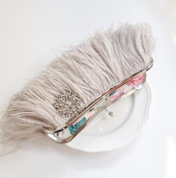feather-clutch-purses-weddings-grey-crystal-brooch
