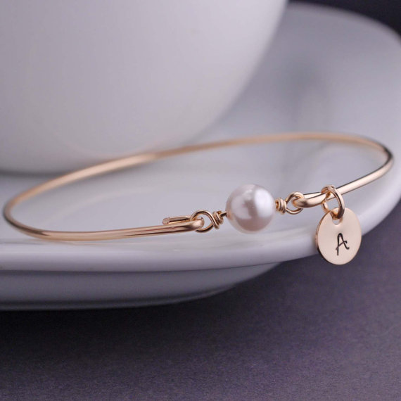gold bangle bracelet with pearl and initial