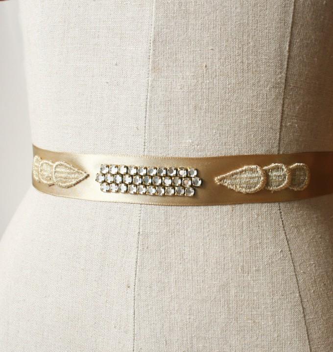Gold art deco wedding dress sash | by Laura Stark | sashes dress | https://emmalinebride.com/bride/bridal-sashes-dress