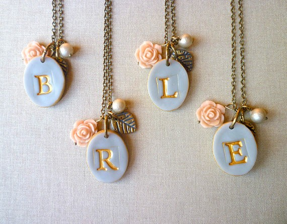 gray rose and pearl initial necklaces for bridesmaids | by Palomaria | bridesmaid necklaces initials | https://emmalinebride.com/gifts/bridesmaid-necklaces-initials