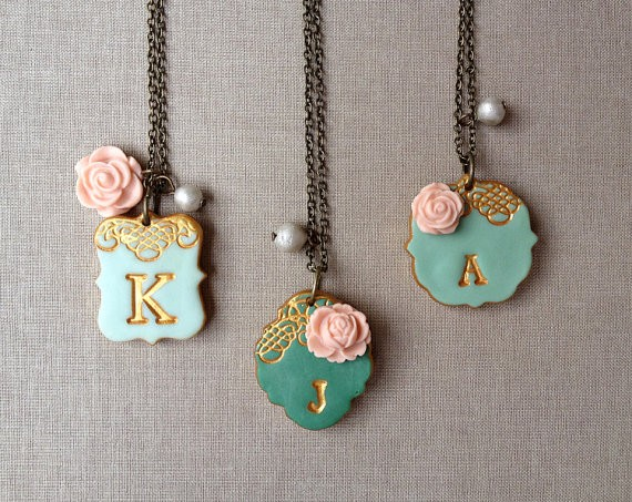 initial necklaces | by Palomaria | bridesmaid necklaces initials | https://emmalinebride.com/gifts/bridesmaid-necklaces-initials