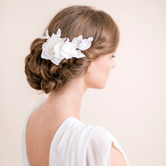 lily magnolia flower hair comb | hairstyles accessories weddings | https://emmalinebride.com/bride/hairstyles-accessories-weddings/ | via florentes: http://etsy.me/22yo1LX
