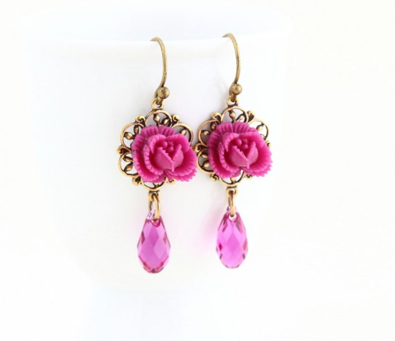 magenta flower earrings