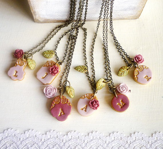 marsala dusty pink initial necklaces for bridesmaids | by Palomaria | bridesmaid necklaces initials | https://emmalinebride.com/gifts/bridesmaid-necklaces-initials