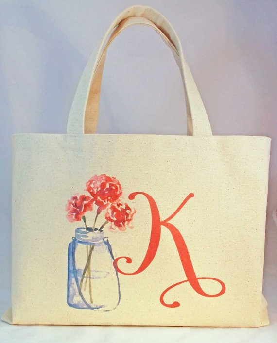 mason jar and personalized initial tote bag