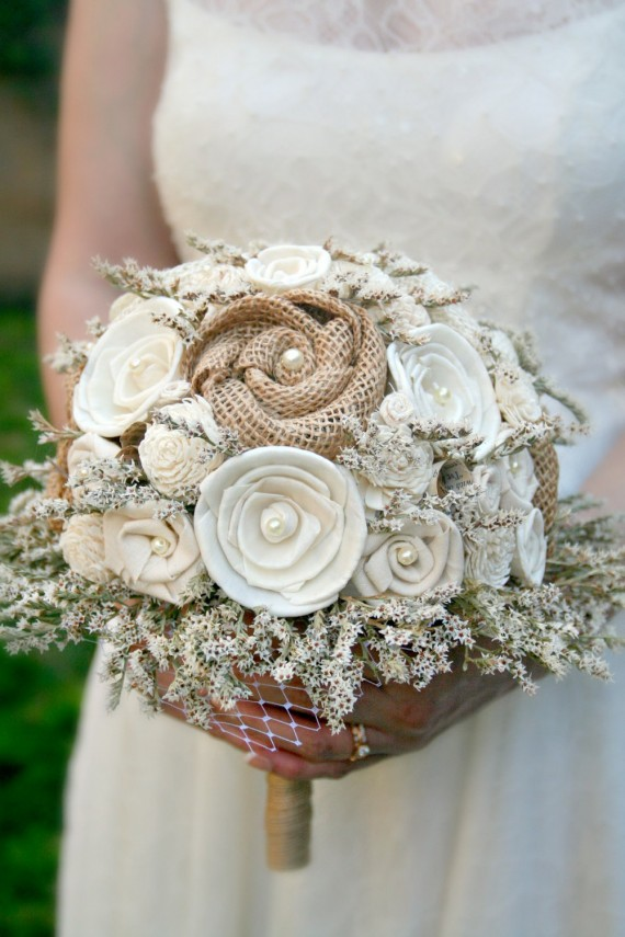 natural burlap fabric flower bouquet