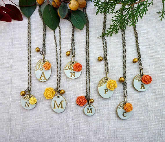 orange and yellow initial necklaces for bridesmaids | by Palomaria | bridesmaid necklaces initials | https://emmalinebride.com/gifts/bridesmaid-necklaces-initials