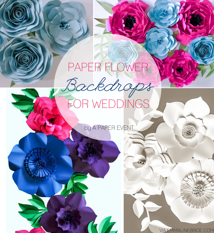 Paper Flower Backdrops Weddings by A Paper Event | https://emmalinebride.com/reception/paper-flower-backdrops/