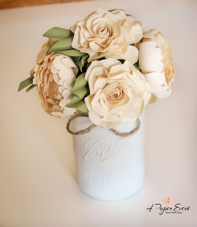 Paper Flower Bouquet in Mason Jar | by A Paper Event | https://emmalinebride.com/reception/paper-flower-backdrops/