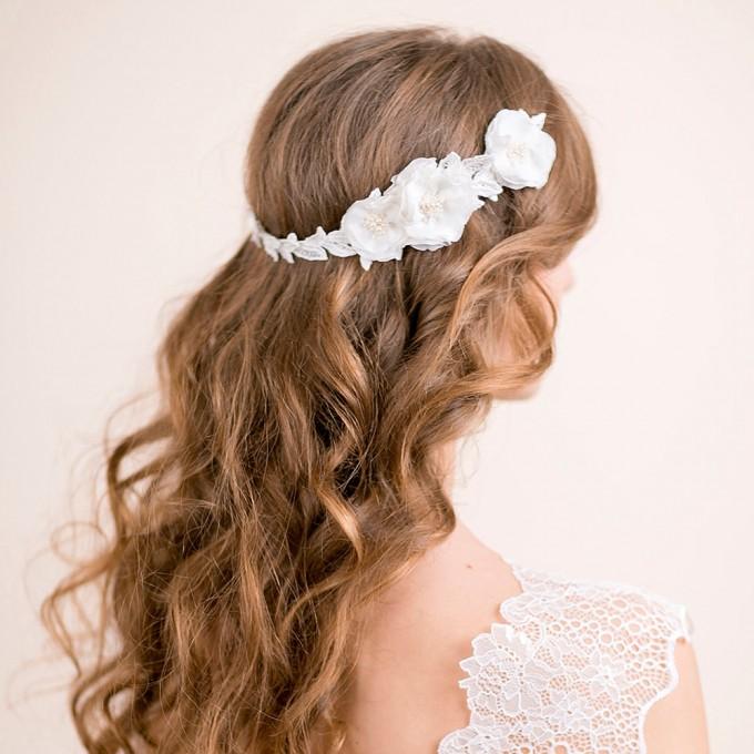 ranunculus flowers hair accessory hair down hairstyle | hairstyles accessories weddings | https://emmalinebride.com/bride/hairstyles-accessories-weddings/ | via florentes: http://etsy.me/22yo1LX