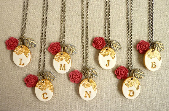 red rose initial necklaces for bridesmaids | by Palomaria | bridesmaid necklaces initials | https://emmalinebride.com/gifts/bridesmaid-necklaces-initials