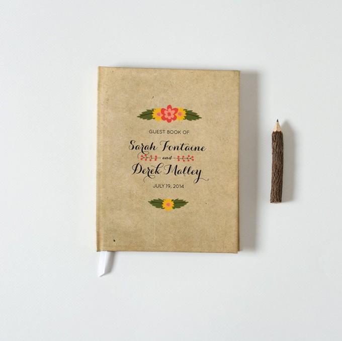 rustic floral guest book