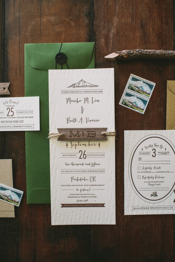 rustic tree and mountain invitation | rustic wedding invitations | by Wide Eyes Paper Co. | https://emmalinebride.com/rustic/invitations-rustic-weddings/