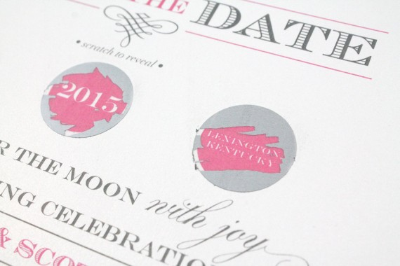 scratch off save the dates | by diva gone domestic | https://emmalinebride.com/invites/scratch-off-save-the-dates/