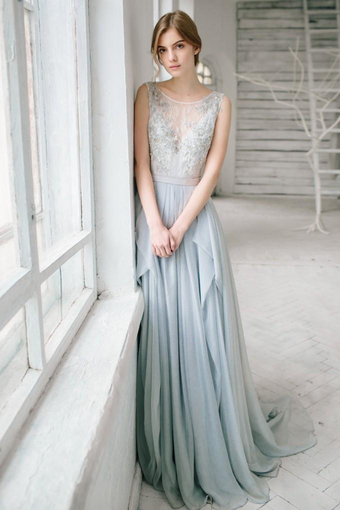 silver grey wedding dress