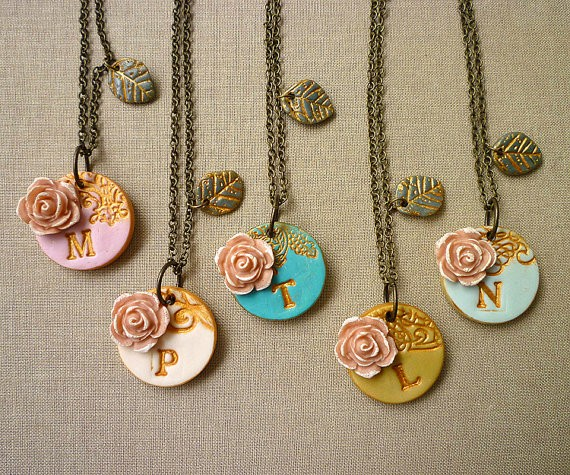 spring initial necklaces for bridesmaids | by Palomaria | bridesmaid necklaces initials | https://emmalinebride.com/gifts/bridesmaid-necklaces-initials