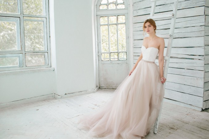 two piece tulle blush wedding dress