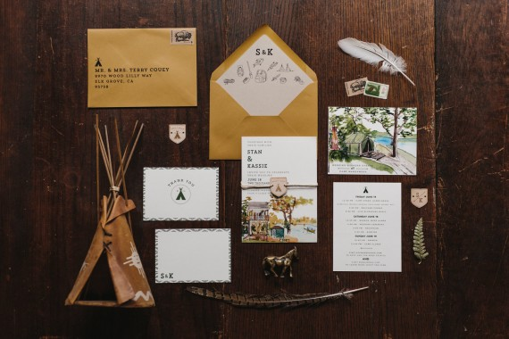 woodland camping wedding invitation | rustic wedding invitations | by Wide Eyes Paper Co. | https://emmalinebride.com/rustic/invitations-rustic-weddings/