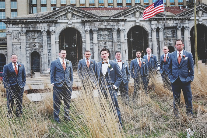 Detroit_train_station_wedding_groomsmen Downtown Detroit Wedding - https://emmalinebride.com/real-weddings/a-beautiful-downtown-detroit-wedding-nick-jeannine/ | Michigan wedding photographer - The Camera Chick