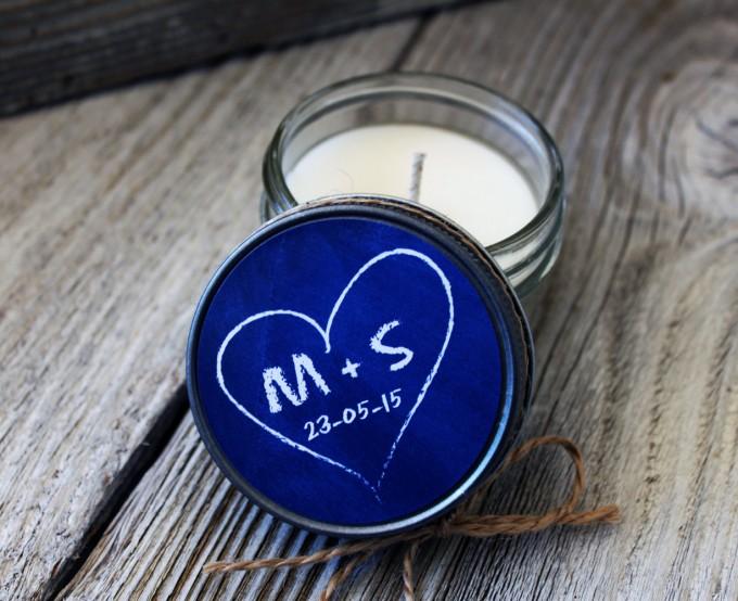 chalkboard heart design | wedding candle favors | https://emmalinebride.com/wedding/candle-favors/