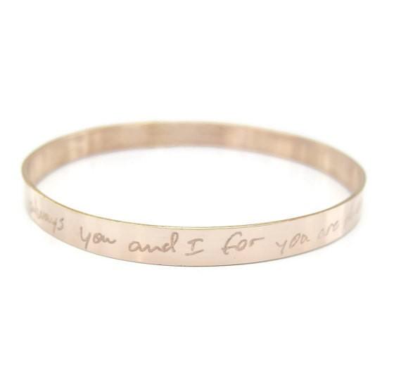 favorite song lyrics or message cuff bracelet - handwritten jewelry gifts | http://emmalinebride.com/gifts/handwritten-jewelry/