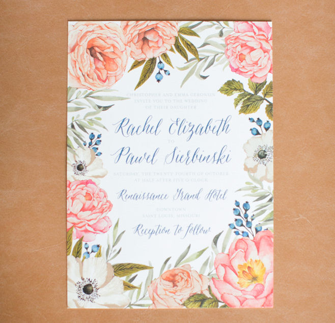 flower wedding invitation A Gorgeous St. Louis Wedding: Rachael + Pawe at the Marriott Renaissance Grand, Saint Louis - http://emmalinebride.com/real-weddings/a-gorgeous-st-louis-wedding-rachael-pawel/ | Missouri wedding photographer - Heather Roth Fine Art Photography
