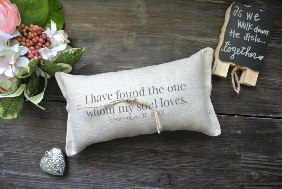 found the one whom my soul loves ring pillow by decoratedroom | 41 Beautiful Rustic Ring Pillows Etsy | https://emmalinebride.com/rustic/ring-pillows-etsy-weddings/