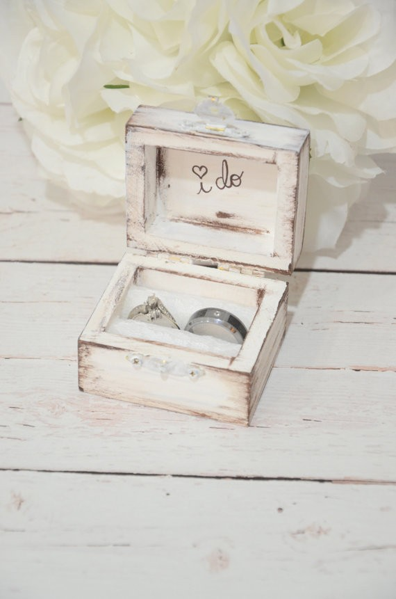 i do white ring box by bellabridecreations | 41 Beautiful Rustic Ring Pillows on Etsy | https://emmalinebride.com/rustic/ring-pillows-etsy-weddings/